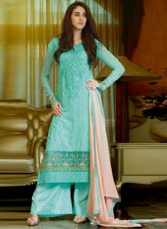 Turquoise Embroidery Work Georgette Embroidery Work Churidar Suit