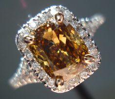 "Fancy Dark Yellowish-Brown VS2 Cushion Diamond 18kt white gold ""Halo"" Diamond Ring"