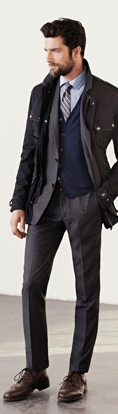Handsome Brown Woll Fitted Suit, Parka, and Brown Laceups. Men's Fall/Winter Fashion. Whole package. Yes please