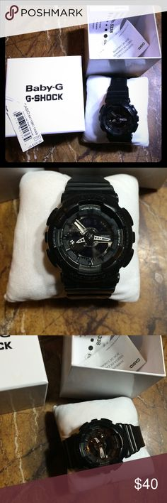 BABY G-SHOCK Pre loved black stainless water resistant watch comes  with box warranty all..please know this watch is working well ticking , light , and all functioning,the lip up to hold the band is GONE can be replaced ..excellent gift ! G-Shock Accessories Watches