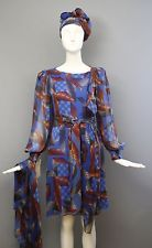 70s STAVROPOULOS space age rubix cube print geometric chiffon DRESS and scarf vi