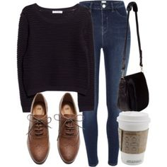 Navy sweater, jeans, brown oxfords