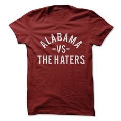 Alabama vs. the Haters  Burgundy t-shirt with White Print  Relaxed, tailored and ultra-comfortable, you'll love the way you look in this durable, reliable classic.   100% preshrunk cotton (heather gray color is 90% cotton/10% polyester, ash color is 99% cotton/1% polyester) | Fabric Weight: 5.3 oz (heavyweight)  Double-stitched seams at shoulder, sleeve, collar and waist  Available in wide variety of colors  Imported; processed and printed in the U.S.A.  All items printed and shipped by…
