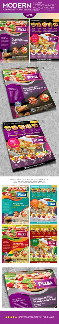 Modern Restaurant and Food Menu Flyer Template #design #speisekarte Download: http://graphicriver.net/item/modern-restaurant-and-food-menu-flyer/7489990?ref=ksioks