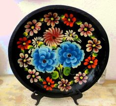 Vintage Mexican Folk Art Batea Tray-Hand Carved Tole painted Tray by flyingdollar on Etsy