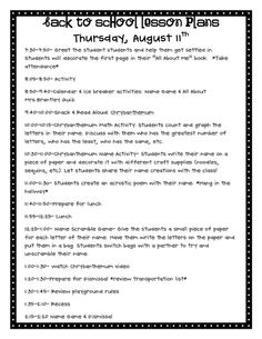 Back to school 2nd and 3rd day lesson plans