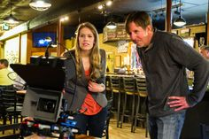Peter Deak and Leah reviewing the previous shot on the production monitor.