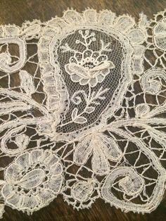 19th C Duchesse Bobbin Lace Point de Gaze Needle Lace Trim or Berthe Collar | eBay