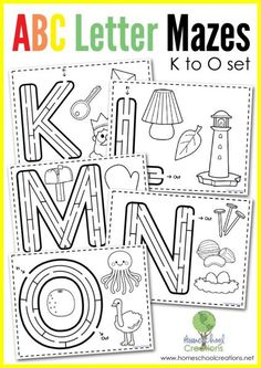 Next in the set, here is FREE Alphabet Mazes Letters K-O. This FREE alphabet maze and coloring pack includes letter mazes for the letters K-O and addit Preschool Letters, Learning Letters, Preschool Kindergarten, Alphabet Activities, Preschool Activities, Preschool Readiness, English Activities, Letter Maze, Letter Tracing