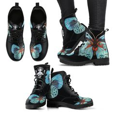 "New: Now The boots are VEGAN :) Vegan Friendly Leather boots features the Butterfly element from the original painting ""New Discoveries"" by Noa Knafo: This Funky Shoes, Diy Fashion, Womens Fashion, Tights And Boots, Painted Shoes, Dream Shoes, Cool Boots, Sock Shoes, Snug Fit"