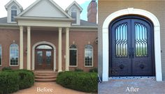 Iron Lion Entries - Before and After front door install - Home Remodel - Iron Door