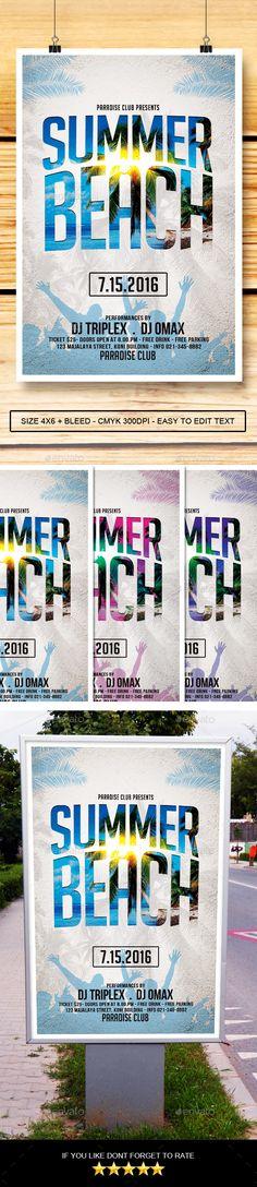 Summer Beach Flyer Template PSD. Download here: http://graphicriver.net/item/summer-beach-flyer/16542002?ref=ksioks