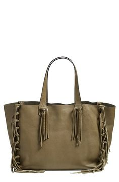 Valentino - 'Crockee' Fringed Leather Tote in Army Green