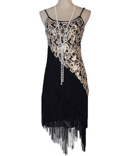 PrettyGuide Women's 1920S Paisley Art Deco Sequin Tassel Glam Party Costume Dress 2-4 Black