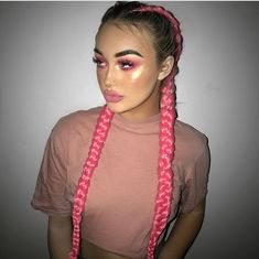 Boxer Braids Hairstyles, Braided Hairstyles, Rave Hair, Coiffure Hair, Colored Braids, Braid In Hair Extensions, French Braids With Extensions, Feed In Braid, Festival Hair
