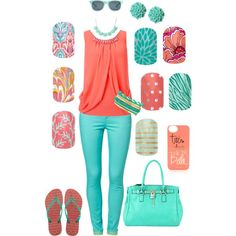 Coral and Teal Jamberry. Hurry! Many Spring 2014 designs are discontinued. Last day to order is Aug. 31/14. Order online: www.kimd.jamberrynails.net