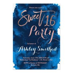 Sweet Sixteen Birthday Party Invitation Rose gold typography navy blue watercolor Sweet 16 Card