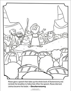 Kids Coloring Page From Whats In The Bible Featuring Moses Giving A Speech Deuteronomy