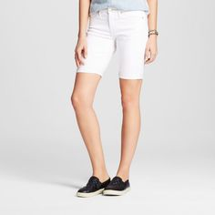 Women's Mid Rise Bermuda Short White Stain Resist 18 - Mossimo
