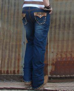 Ranch Royalty Clothing | Ranch Royalty Clothing® Ladies' Leather N' Lace Jeans- Denim Blue ...