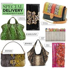 """Special Delivery: 7 Slithering Snakeprint Bags"" by polyvore-editorial ❤ liked on Polyvore"