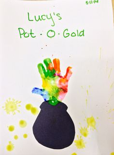 Cute and easy St. Patrick's Day art project for toddlers and preschoolers! Use black construction paper to cut out pot, an assortment of paints with child's handprint, and dot paint to decorate the background.