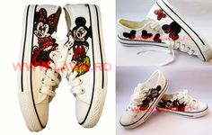 Tenisi pictati manual, in culori textile - Minnie and Mickey Mouse   www.laviq.ro www.facebook.com/pages/LaviQ/206808016028814 Manual, Mickey Mouse, Textiles, Facebook, Sneakers, Shoes, Fashion, Trainers, Moda