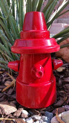 Fire Hydrant Clay Pot - yard art - garden art - terracotta pots. Image only.