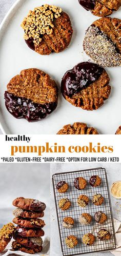 These Healthy Pumpkin Cookies are soft, chewy and full of cozy fall spices and chocolate chips. You can easily make them in just one bowl with simple pantry ingredients and makes a delicious lunch box treat or after dinner dessert. They are gluten-free, dairy-free, grain free and refined -sugar free. Freezer-friendly & kid-friendly! #pumpkincookies #dairyfree #glutenfree #pumpkin Fall Cookie Recipes, Delicious Cookie Recipes, Healthy Dessert Recipes, Easy Desserts, Fall Recipes, Yummy Food, Pumpkin Recipes, Healthy Baking, Healthy Eats