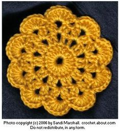 Pattern Directions for an 1893 Circle Motif Reworked Crochet with cotton yarn for coaster Crochet Circles, Crochet Motifs, Crochet Squares, Crochet Doilies, Crochet Flowers, Crochet Stitches, Granny Squares, Crochet Home, Crafts