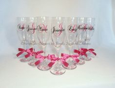 12 Personalized Wedding Glasses by SimplySouthernCharms, $144.00 Handmade Wedding Gifts, Personalized Wedding, Personalized Gifts, Wedding Glasses, Champagne Flutes, Monogram Gifts, Brides And Bridesmaids, Wedding Wishes, Dream Wedding