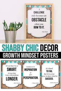 Growth mindset posters for kids and teachers will look great in your confetti rainbow bright classroom decor. They will help you add a little something to your lessons for preschool, kindergarten, first grade, elementary and middle school. A great alternative to the old banner or pennant, this display of affirmations and quotes for students will help them set goals and learn the difference between fixed vs growth mindset. These shabby chic decorations are perfect for the bulletin board Growth Mindset Posters, Create Your Own Poster, Teacher Created Resources, Middle School Classroom, Alphabet Worksheets, Teacher Organization, Class Management, Quotes For Students, Preschool Kindergarten