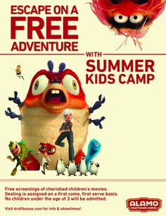 2013 Lineup announced for Alamo Drafthouse Summer Kids Camp, a series of free films for Austin families to enjoy!