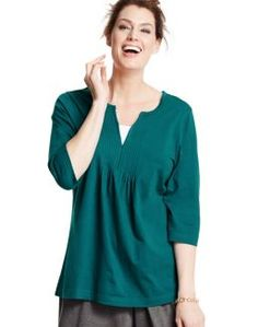 Just My Size Pintuck-Front Cotton Jersey Tunic