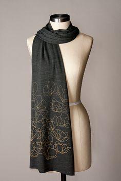 black scarf, metallic gold ink, heather black jersey scarf