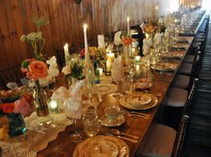 Barn Wedding with mismatched antique dishes Barn Table, Vintage Tea Parties, Antique Dishes, Antique China, Wedding Rentals, Eclectic Decor, Rustic Wedding, Wedding Ideas, Wedding Tables