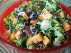 Fast, easy side dish. Fresh Broccoli Salad Perfect for a potluck or family dinner.