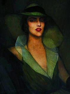 Beltran Masses--Retrato con Pamela Verde-1930