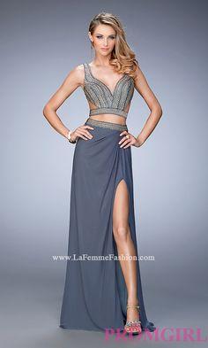 Two Piece Long Open Back Prom Dress by La Femme Style: LF-22319