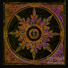Compass Rose Purple and Gold by Maureen Tillman