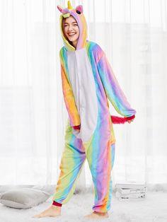 Romwe Striped Cartoon Rainbow Animal Onesie Hooded Nightwear Women Winter Cute Multicolor Pajama Loungewear Multi S Unicorn And Glitter, Shooting Photo, Jumpsuit Pattern, Rainbow Print, Young Models, Rainbow Unicorn, Types Of Sleeves, Nightwear, Romwe