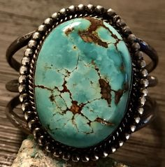 Huge Old Pawn Sterling Cuff Bracelet W/ A Big Beautiful Royston Turquoise Stone #UNBRANDED