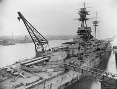 HMS Resolution (15 in 'R' class battleship) nearing completion in 1915: Unlike some of her 4 sisters, she was not yet in commission at the time of Jutland in May the following year. She was still in service by WW2, albeit very slow, and took part in the neutralization of the French fleet at Mers el Kebir in July 1940. She was relegated to training use in 1943.