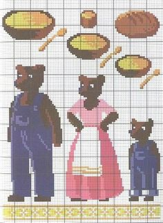 goldilocks and the three bears cross stitch chart