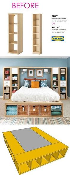Smart and Gorgeous IKEA Hacks: save time and money with functional designs and beautiful transformations. Great ideas for every room such as IKEA hack bed, desk, dressers, kitchen islands, and more! - A Piece of Rainbow decor ikea Ikea Hacks, Diy Hacks, Ikea Bed Hack, Ikea Hack Bedroom, Ikea Bedroom Storage, Ikea Bookshelf Hack, Ikea Platform Bed Hack, Ikea Boys Bedroom, Ikea Beds