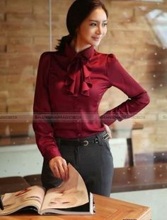 New Women Fashion Long Sleeve Shirt Blouse Bowknot With Collar 3 Colors WSHT097