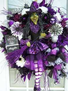 Love this Purple and Black Witch Wreath