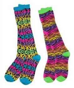 Three Cheers for Girls It Takes Two Knee Socks, Neon Bright Animal Prints