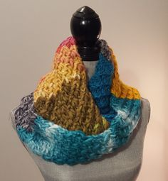 Mulit-Coloured Chunky Knit Textured Infinity Scarf by WhiteTeather