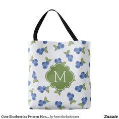 Cute Blueberries Pattern Monogram Tote Bag